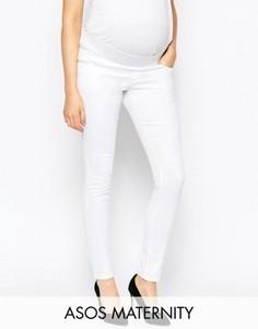 Белые джинсы скинни для беременных с посадкой под животом ASOS Maternity Ridley - Белый