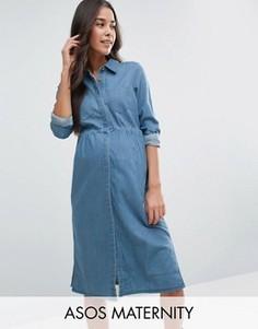 Синее джинсовое платье-рубашка мини для беременных ASOS Maternity - Синий