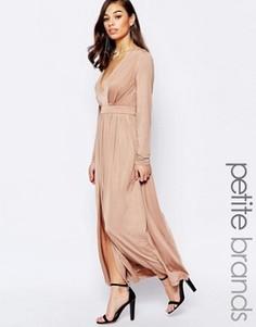 Платье макси с разрезом до бедра Lipstick Boutique Petite - Бежевый