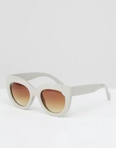Солнцезащитные очки кошачий глаз в массивной оправе ASOS - Серый