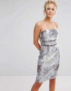 Жаккардовое платье-футляр с эффектом металлик Little Mistress - Серый