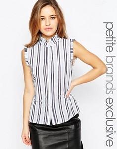Рубашка в полоску с оборками на плечах Alter Petite - Мульти
