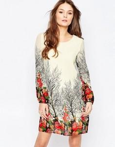 Цельнокройное платье с длинными рукавами Yumi - Кремовый
