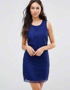 Синее цельнокройное платье в решетчатой отделкой Lavand - Синий