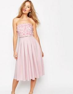 Платье-бандо миди с декоративной отделкой ASOS SALON - Розовый