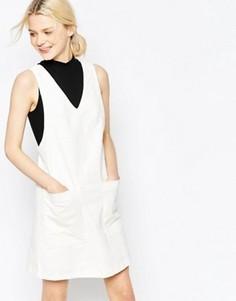 Жаккардовое цельнокройное платье с цветочным узором Y.A.S - Белый