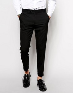 Укороченные зауженные брюки строгого кроя ASOS - Черный