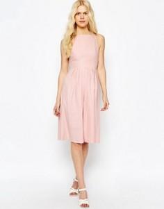 Льняное платье миди ASOS - Розовый