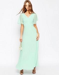 Кружевное платье макси с плиссировкой ASOS WEDDING - Зеленый