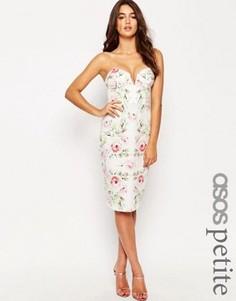 Платье-футляр бандо с принтом роз ASOS PETITE - Мульти