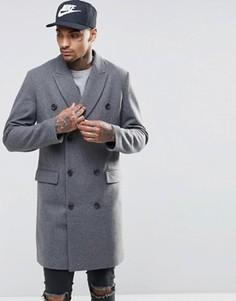 Двубортное полушерстяное пальто в крапинку ASOS - Серый