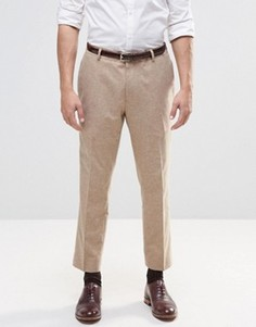 Бежевые укороченные строгие брюки слим ASOS - Коричневый