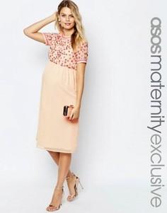 Платье миди для беременных с пайетками ASOS Maternity - Кремовый