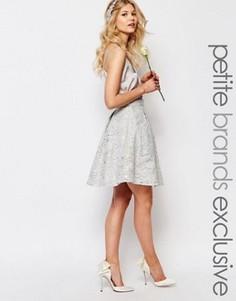 Пышная юбка миди для выпускного с пайетками Chi Chi London Petite - Серый