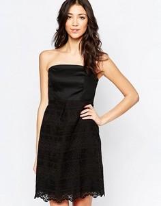 Платье-бандо с кружевной юбкой Lavand - Черный