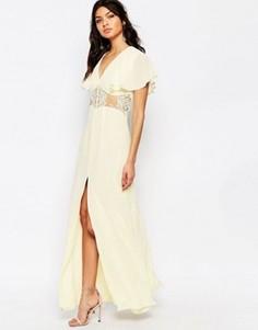 Платье макси на пуговицах, с кружевными вставками и рукавами бабочка Jarlo Edith - Кремовый