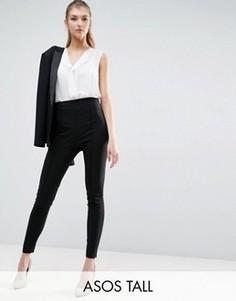 Укороченные брюки скинни из бенгалина ASOS TALL - Черный