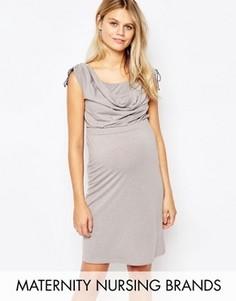 Драпированное платье для кормящих мам с завязками на плечах Mamalicious - Серый Mama.Licious