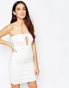 Облегающее платье мини с вырезом капелькой спереди Oh My Love - Кремовый