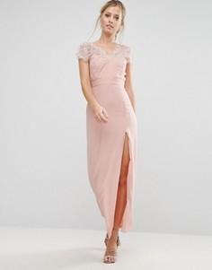 Кружевное платье макси с V-образным вырезом сзади Elise Ryan - Розовый