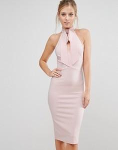 Платье миди с бантом и вырезами Oh My Love - Розовый