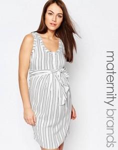 Платье в полоску с завязками на талии Isabella Oliver - Мульти