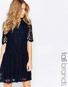 Кружевное платье с заниженной талией Y.A.S Tall - Темно-синий