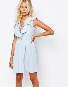 Платье с рюшами и завязкой Fashion Union - Синий
