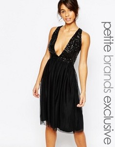 Платье для выпускного с пайетками на лифе John Zack Petite - Черный