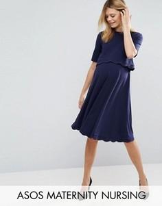Платье для беременных и кормящих мам с короткими рукавами ASOS Maternity - Синий