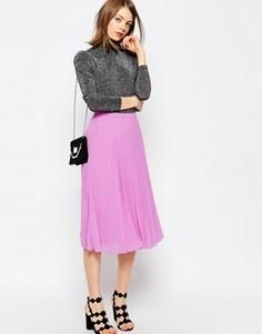 Плиссированная юбка миди ASOS - Розовый
