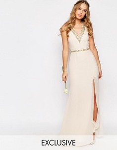 Платье макси с отделкой вдоль V-образного выреза TFNC WEDDING - Розовый