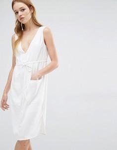 Платье с глубоким вырезом Neon Rose - Кремовый