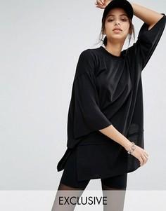 Двухслойное платье из плотного трикотажа с короткими рукавами Bones - Черный