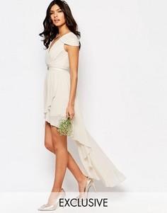 Асимметричное платье с открытыми плечами TFNC WEDDING - Серый