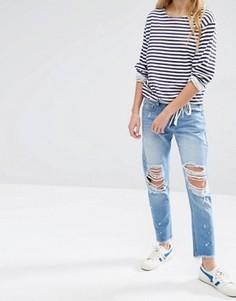 Потертые джинсы бойфренда с необработанным краем Daisy Street - Синий