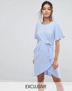 Платье с рукавами‑кимоно и завязкой спереди Closet - Синий