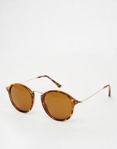 Круглые очки с металлической переносицей и отделкой на уголках ASOS - Коричневый