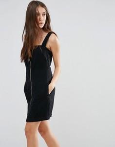 Джинсовое платье мини на молнии Vila - Черный