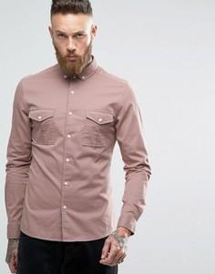 Пыльно-розовая рубашка скинни в стиле милитари с длинными рукавами ASOS - Розовый