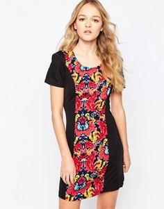 Цельнокройное платье с цветочным принтом на вставке Madam Rage - Мульти