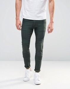 Супероблегающие джинсы цвета хаки в байкерском стиле ASOS - Зеленый