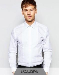 Вечерняя рубашка скинни с нагрудной вставкой Number Eight Savile Row - Белый
