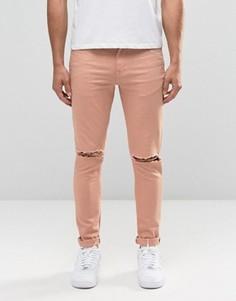 Розовые супероблегающие джинсы с рваными коленками ASOS - Розовый