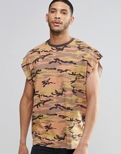Бежевая винтажная оversize-футболка без рукавов с камуфляжным принтом ASOS - Коричневый