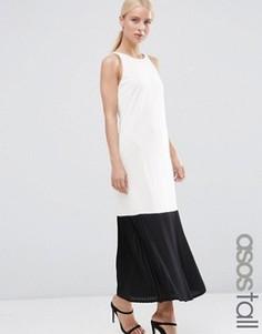 Платье макси из крепа с полупрозрачной плиссированной кромкой ASOS TALL - Белый