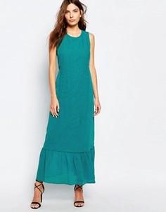 Платье макси с вышивкой Sisley - Зеленый