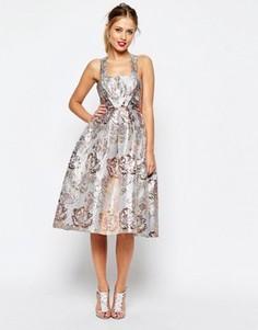 Платье для выпускного из жаккарда с эффектом металлик ASOS SALON - Мульти