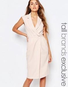 Платье без рукавов с лацканами и запахом спереди Alter Tall - Розовый