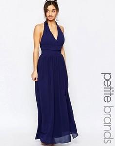 Шифоновое платье макси с халтером TFNC Petite WEDDING - Темно-синий